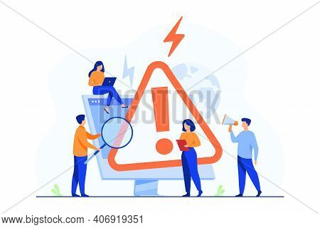 Tiny People Examining Operating System Error Warning On Web Page Isolated Flat Vector Illustration.