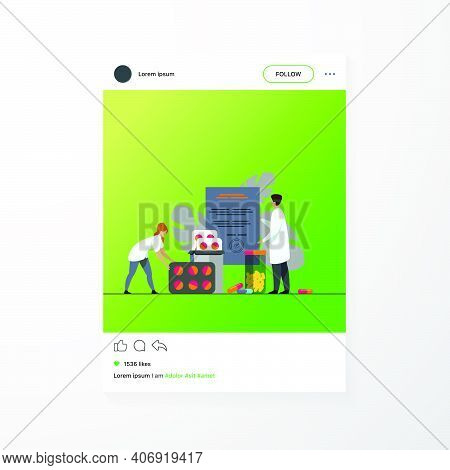 Tiny Pharmacists With Rx Prescription And Drugs Isolated Flat Vector Illustration. Pharmaceutical Pa