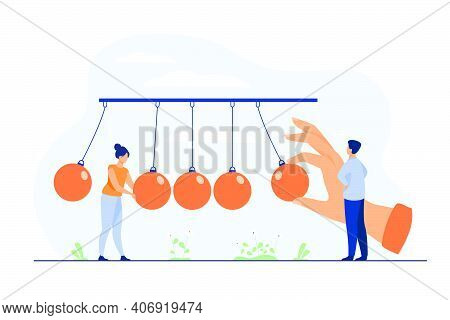 Tiny People Standing Near Pendulum Isolated Flat Vector Illustration. Metaphor Of Motivation Positiv