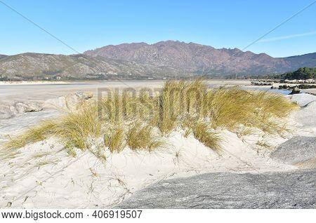 Carnota Beach Or Playa De Carnota At Rias Baixas Region With Monte Pindo Or Mount Pindo. Coruña, Gal