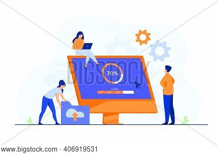 Tiny Programmers Upgrading Operation System Of Computer Isolated Flat Vector Illustration. Cartoon I