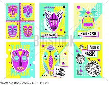 Tribal Masks Greeting Cards Design Set. Traditional Decoration, Souvenir In Boho Style Vector Illust