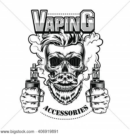 Vaping Accessories Vector Illustration. Trendy Hipster Bearded Skull With Electronic Cigarettes And