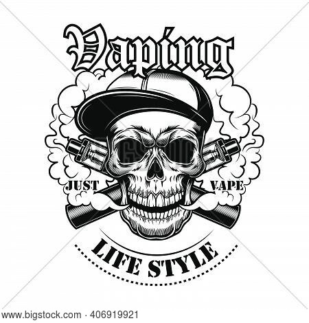 Vaping Skull In Gangsta Cap Vector Illustration. Stylish Character In Hat With Electronic Cigarettes