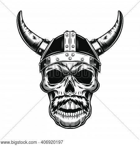 Warrior Skull In Horned Helmet Vector Illustration. Monochrome Head Of Viking With Moustaches. War O