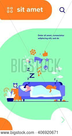 Young Man Sleeping On Sofa With Cat Isolated Flat Vector Illustration. Cartoon Character Dreaming Un