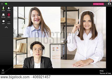 Video Chat. Group Teleconference. Online Presentation. Business Webinar. Diverse Multiethnic Team Li
