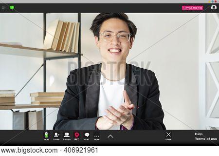 Video Call. Online Meeting. Corporate Telework. Remote Job. Screenshot Of Cheerful Happy Asian Male