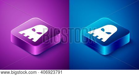 Isometric Executioner Mask Icon Isolated On Blue And Purple Background. Hangman, Torturer, Executor,