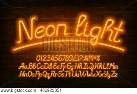 Neon Light Alphabet Font. Yellow Neon Color Letters, Numbers And Symbols. Uppercase And Lowercase. S