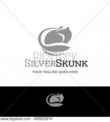 Silver Skunk Logo For Business, Organization Or Websites. Vector Illustration