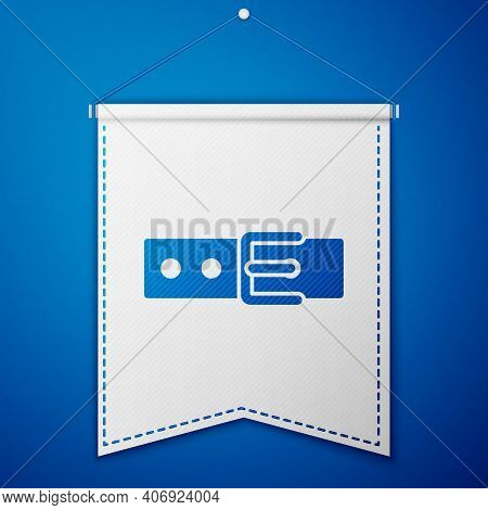 Blue Collar With Name Tag Icon Isolated On Blue Background. Simple Supplies For Domestic Animal. Cat