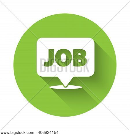 White Speech Bubble With Job Icon Isolated With Long Shadow. Recruitment Or Selection Concept. Searc