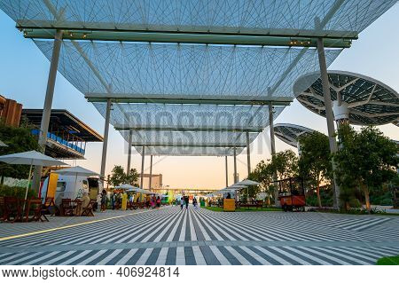 Dubai, United Arab Emirates - February 4, 2020: Terra Sustainability Pavilion At The Expo 2020 At Su