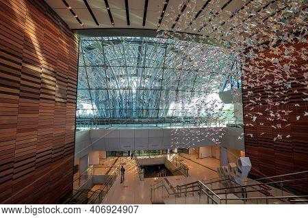 Dubai, United Arab Emirates - February 4, 2020: Terra Sustainability Pavilion At The Expo 2020 Built