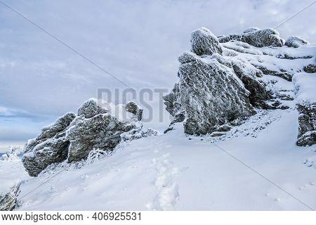 Rocks In Big Vapenica Hill, Low Tatras Mountains, Slovak Republic. Natural Winter Scene. Hiking Them