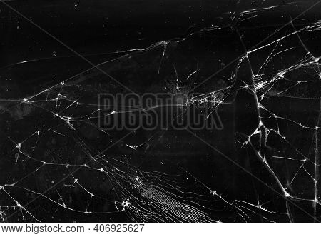Fractured Background. Broken Glass Texture. Black Shattered Aged Faded Window With Dust Scratches Sm