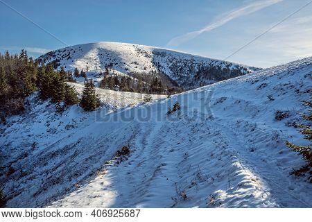 Ploska Hill, Big Fatra Mountains, Slovak Republic. Snowy Landscape. Seasonal Natural Scene. Travel D