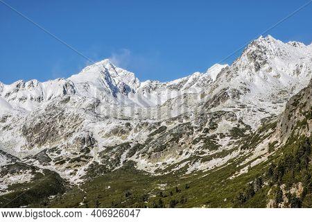 Koprovsky Peak And Mengusovska Valley, High Tatra Mountains, Slovak Republic. Hiking Theme.