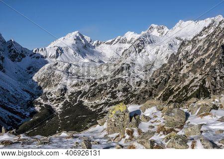 Mengusovska Valley And Peaks From Mountain Saddle Below Ostrva, High Tatra Mountains, Slovak Republi