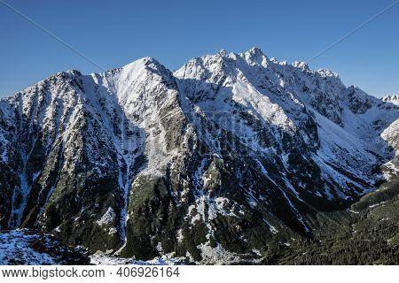 Mengusovska Valley And Peaks From Ostrva, High Tatra Mountains, Slovak Republic. Hiking Theme.