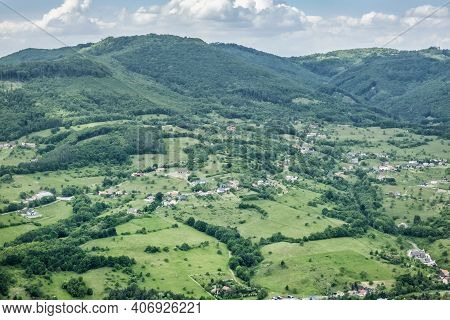 View From Lookout Tower Haj, Nova Bana, Slovak Republic. Travel Destination.