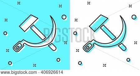 Black Line Hammer And Sickle Ussr Icon Isolated On Green And White Background. Symbol Soviet Union.