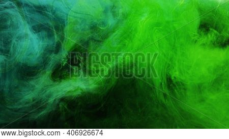 Color Smoke. Neon Abstract Background. Paint In Water Explosion. Toxic Air Pollution. Glowing Bright