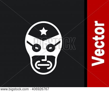 White Mexican Wrestler Icon Isolated On Black Background. Vector