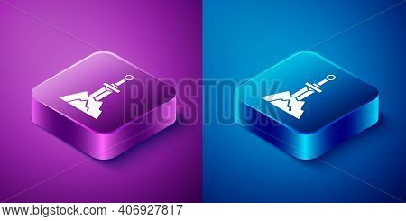 Isometric Sword In The Stone Icon Isolated On Blue And Purple Background. Excalibur The Sword In The