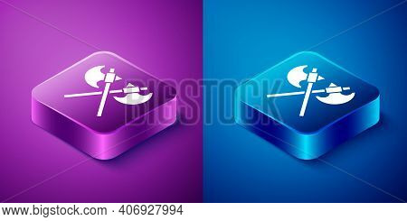 Isometric Crossed Medieval Axes Icon Isolated On Blue And Purple Background. Battle Axe, Executioner
