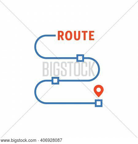 Thin Line Route With Waypoints. Concept Of Delivery Place Or Land Mark For Trip. Flat Linear Style T