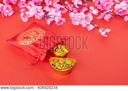 Sakura Blossom, Gift Bag And Golden Ingot - Chinese New Year Concept
