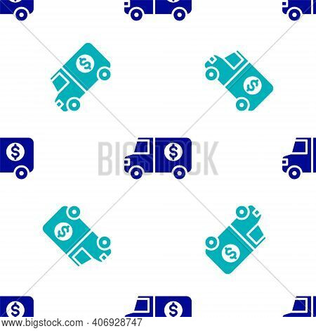Blue Armored Truck Icon Isolated Seamless Pattern On White Background. Vector