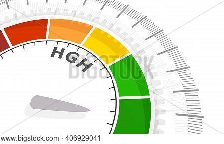 Gradient Scale. Growth Hormone Level Measuring Device Icon. Sign Tachometer, Speedometer, Indicators