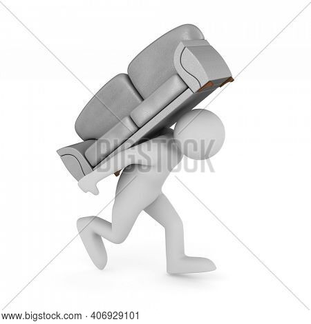 man carry gray sofa on white background. Isolated 3D illustration