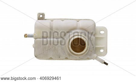 Engine Cooling, Car Coolant Reservoir Spare Tank Isolated On White Background Wit Clipping Path.