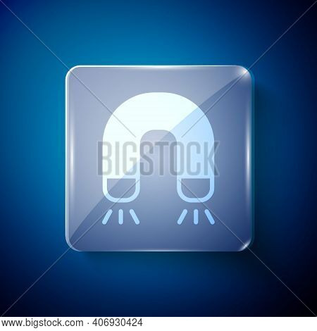 White Magnet Icon Isolated On Blue Background. Horseshoe Magnet, Magnetism, Magnetize, Attraction. S