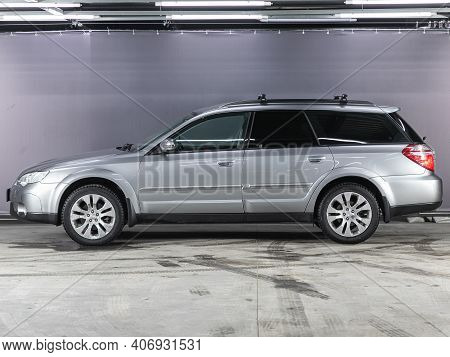 Novosibirsk, Russia - February 03 2021: Silver Subaru Outback, Side View. A Modern Car Universal  On