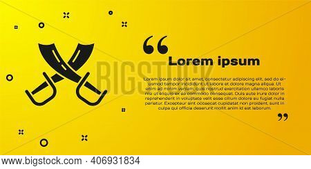 Black Crossed Pirate Swords Icon Isolated On Yellow Background. Sabre Sign. Vector