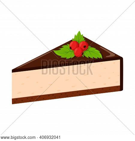Chocolate Cheesecake With Berries And Mint Leaves. Fat, High-calorie, Unhealthy Food. Dessert, Yummy