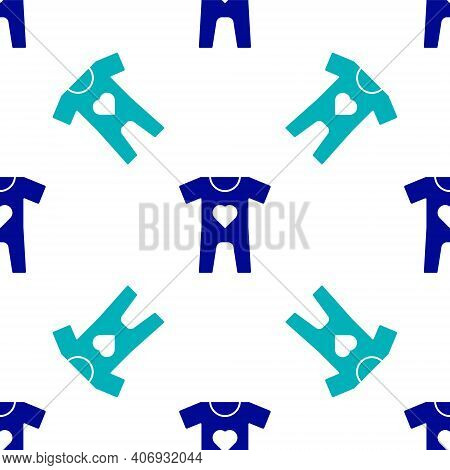 Blue Baby Clothes Icon Isolated Seamless Pattern On White Background. Baby Clothing For Baby Girl An