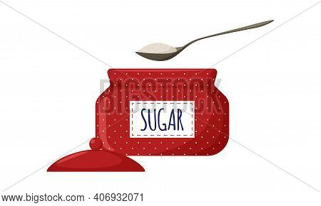 Red Polka-dot Sugar Bowl With Open Lid And Label. Sugar In A Spoon. Kitchen Utensils, Sugar Containe