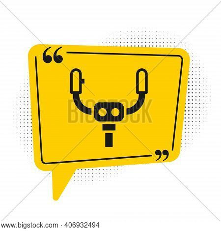 Black Aircraft Steering Helm Icon Isolated On White Background. Aircraft Control Wheel. Yellow Speec