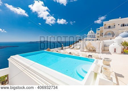 Santorini Greece, October.17.2029: Sea View Over Empty Infinity Pool Santorini. Luxury Summer Travel