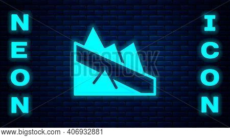 Glowing Neon Mountain Descent Icon Isolated On Brick Wall Background. Symbol Of Victory Or Success C