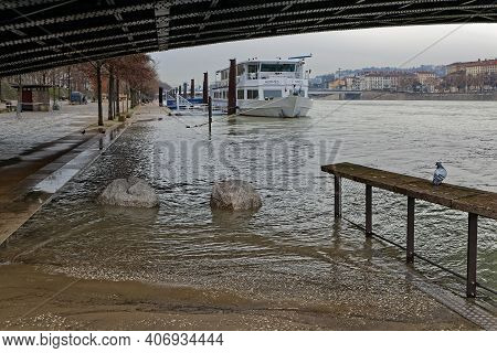 Lyon, France, February 4, 2021 : The Waters Of The Rhone Flood The Banks Of The River. As A Safety M