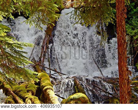 Big Splash - A Close-up Of Clearwater Falls - Clearwater River - Cascade Range - West Of Diamond Lak