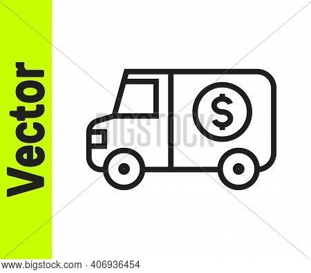 Black Line Armored Truck Icon Isolated On White Background. Vector
