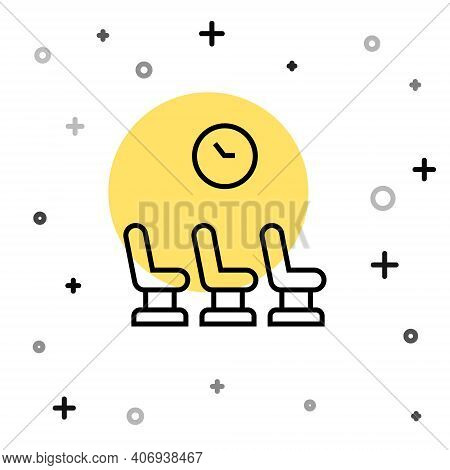 Black Line Waiting Room Icon Isolated On White Background. Random Dynamic Shapes. Vector